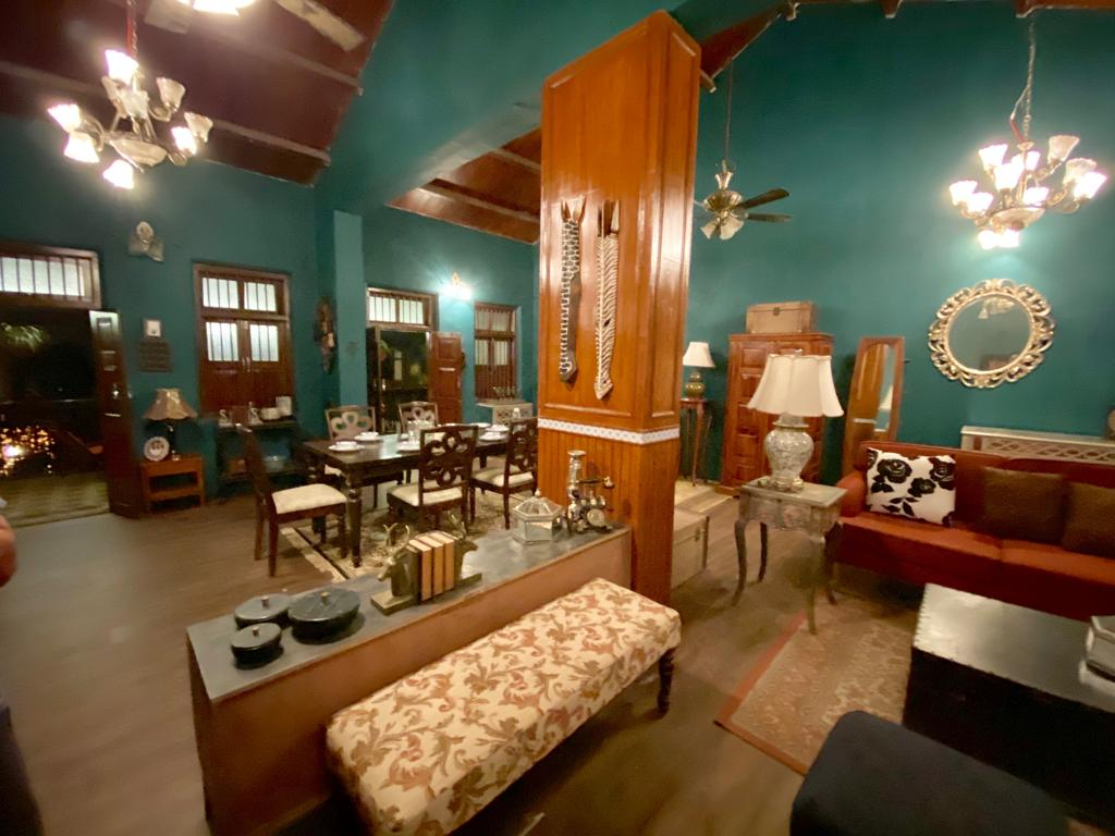 Villa Rashmi - A Heritage Gem in Mumbai   Wooden partition between living room and dining area   TheKeybunch decor blog