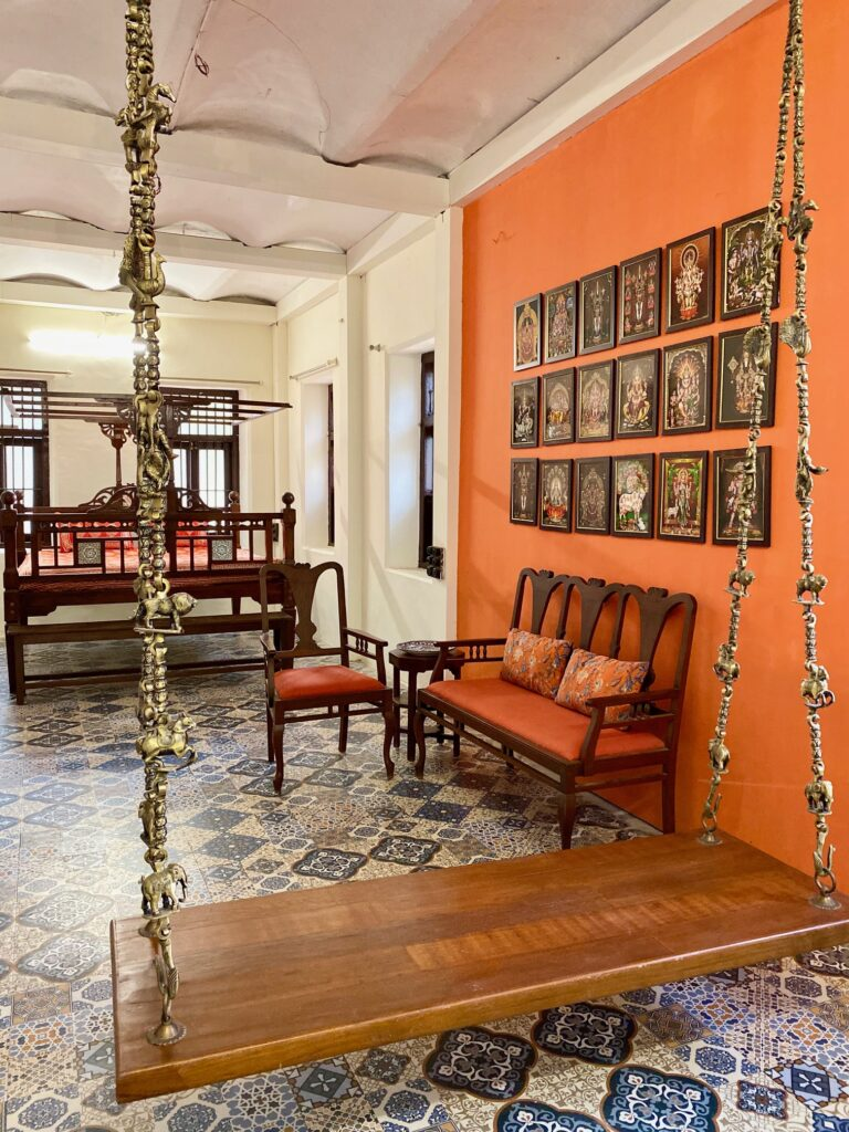 Villa Rashmi - A Heritage Gem in Mumbai   Traditional jhoola swing, antique furniture and wall frames in south indian traditional theme decoration   TheKeybunch decor blog