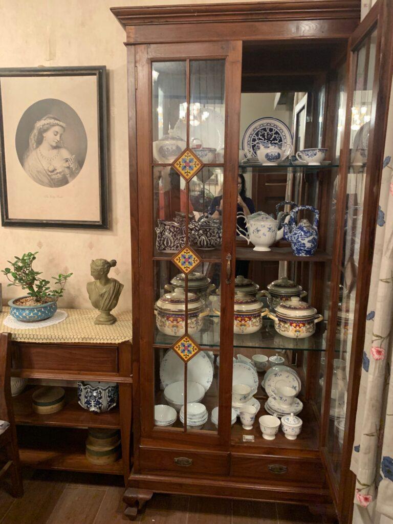 Villa Rashmi - A Heritage Gem in Mumbai   Vintage ceramic set at glass display cabinet in the kitchen   TheKeybunch decor blog
