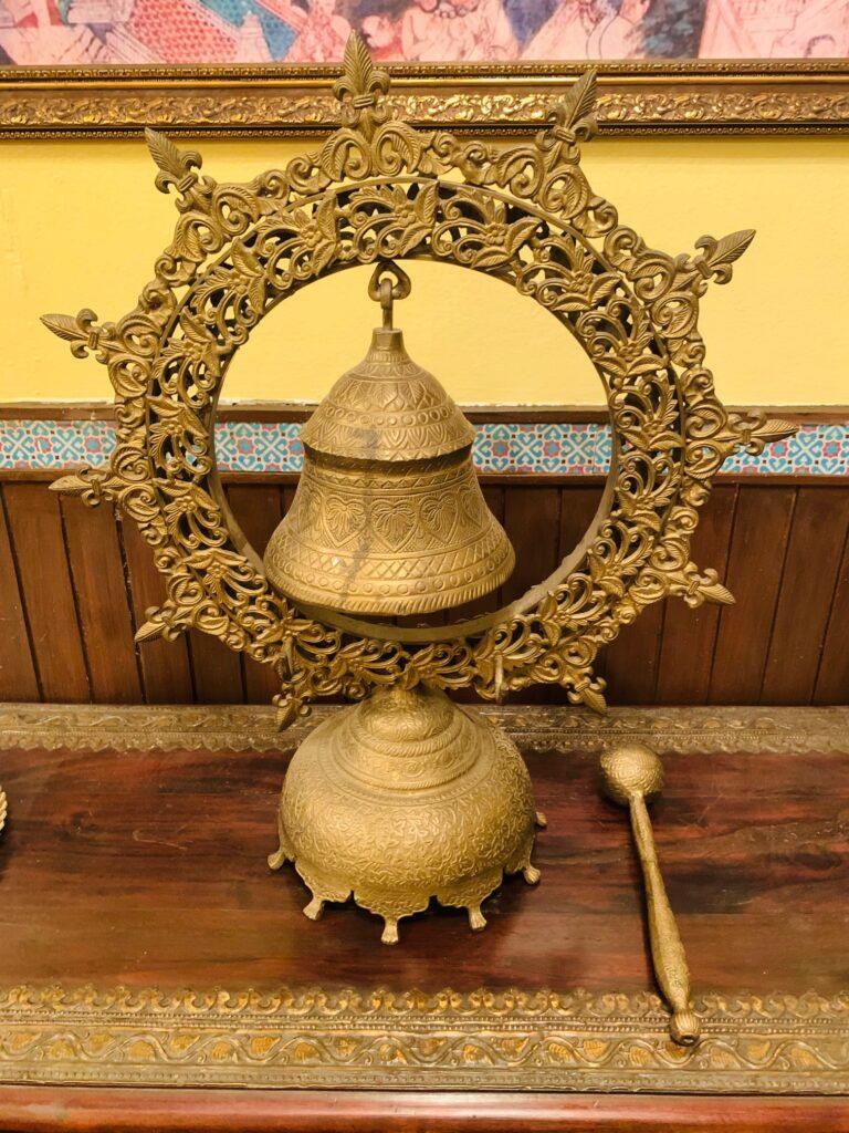 Villa Rashmi - A Heritage Gem in Mumbai   Vintage brass nautical ship wheel bell with brass hammer   TheKeybunch decor blog