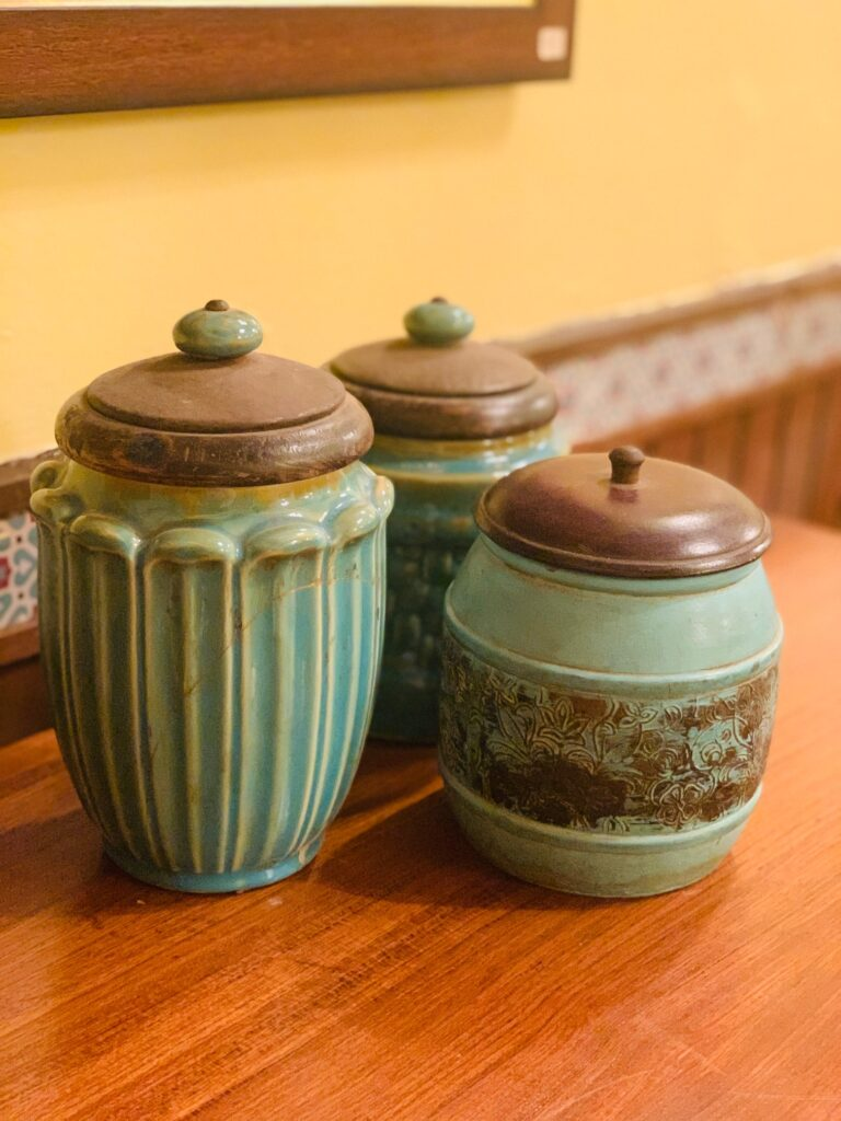 Villa Rashmi - A Heritage Gem in Mumbai   Vintage ceramic jar on top of the table at the bedroom   TheKeybunch decor blog