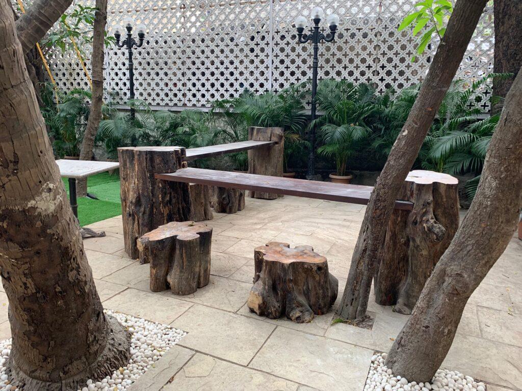 Villa Rashmi - A Heritage Gem in Mumbai   The backyard seating area at Villa Rashmi   TheKeybunch decor blog