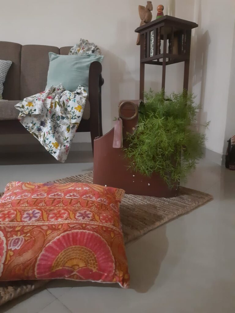 Fall Decor in India - Autumn Season | Mix Florals and pastel solids, and added some orange in the room