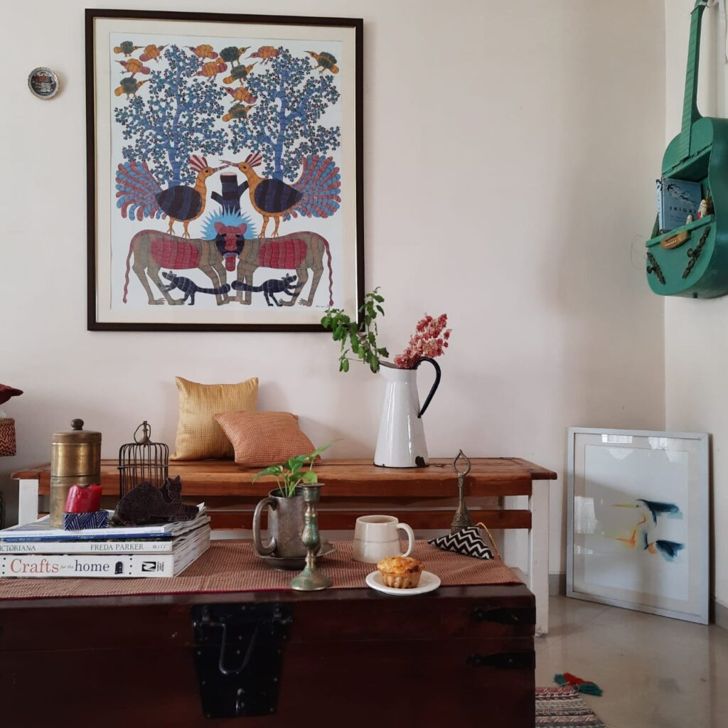 Fall Decor in India - Autumn Season | The beautiful wall art frame, vintage jug and table accessories decorated in the living room