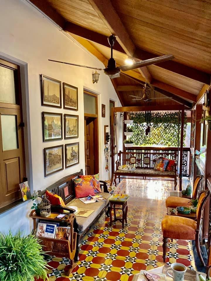 Villa Rashmi - A Heritage Gem in Mumbai   The beautiful wall decor, furniture and floor tiles makes the outdoor area more welcoming   TheKeybunch decor blog