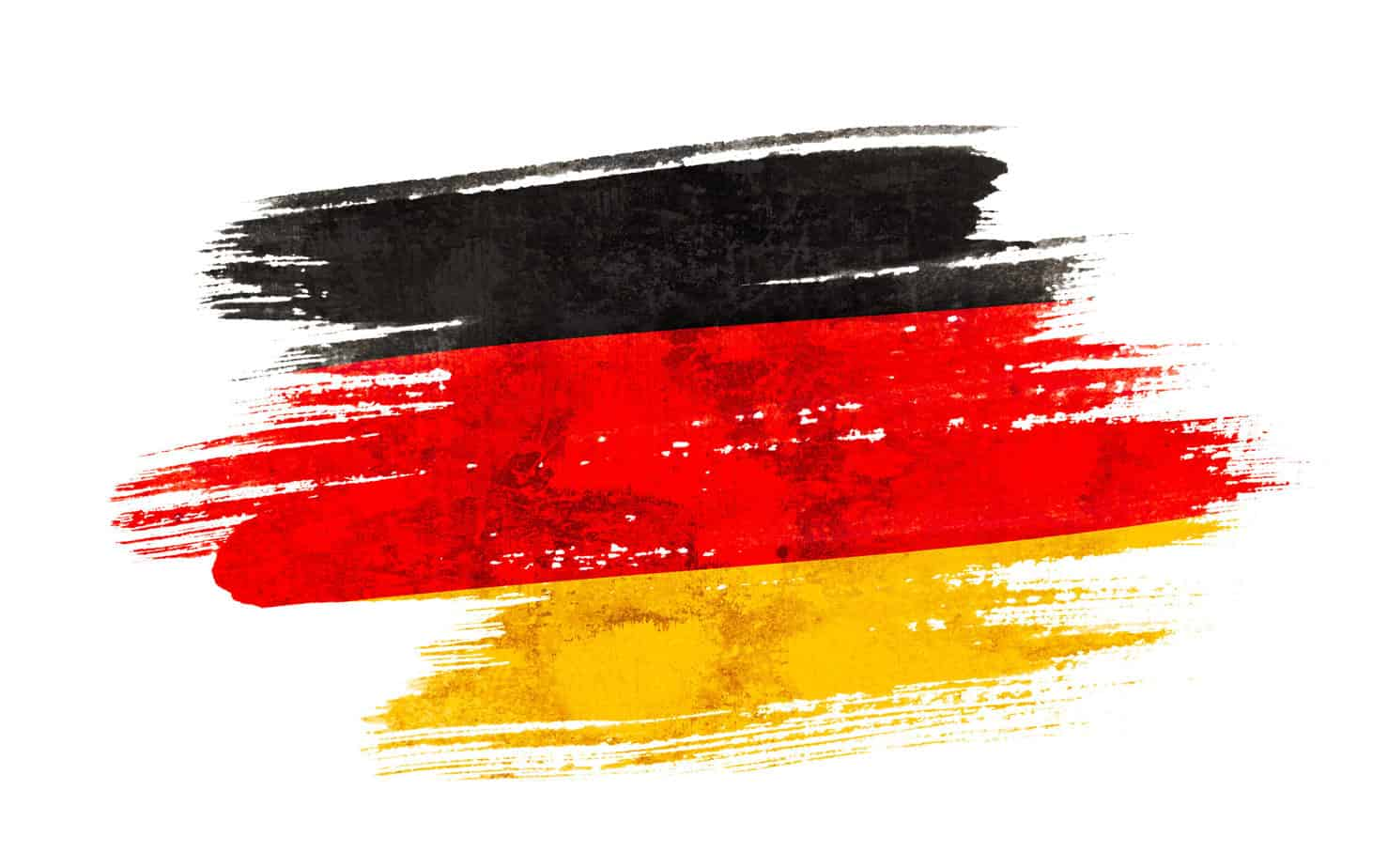 Art brush watercolor painting of Germany flag blown in the wind isolated on white background.
