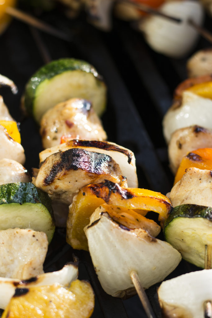 These delicious grilled Honey Chipotle Chicken kabobs are served with fresh cilantro lime rice and my favorite pinto beans. This marinade is delicious on veggies and all proteins.