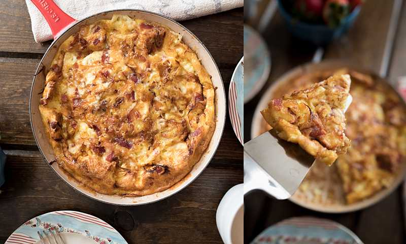 An easy to make frittata with crispy bacon, caramelized onions, and creamy brie cheese. Made it one pan-- brunch can't get any easier!