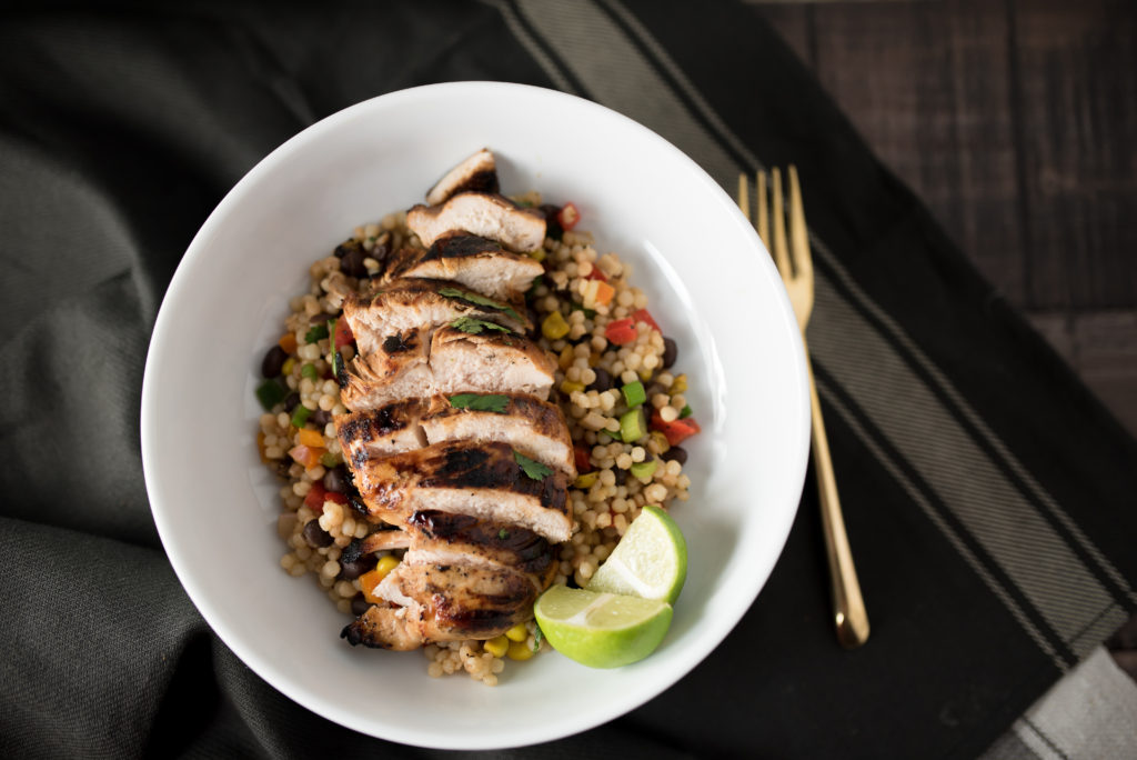 Cilantro Lime Chicken and Mexican Couscous Saladas seen on firstandfull.com