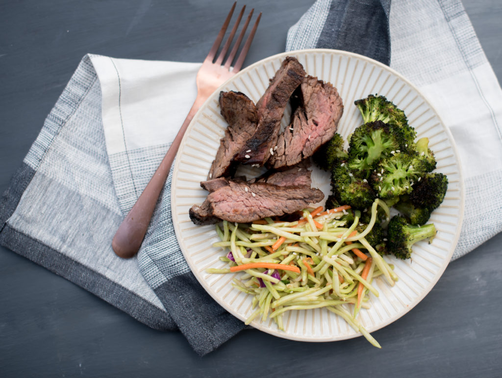 An easy flank steak marinade perfect for weeknight grilling. It's got soy sauce, ginger, garlic, and honey to create the most delicious and tender steak. | FirstandFull.com