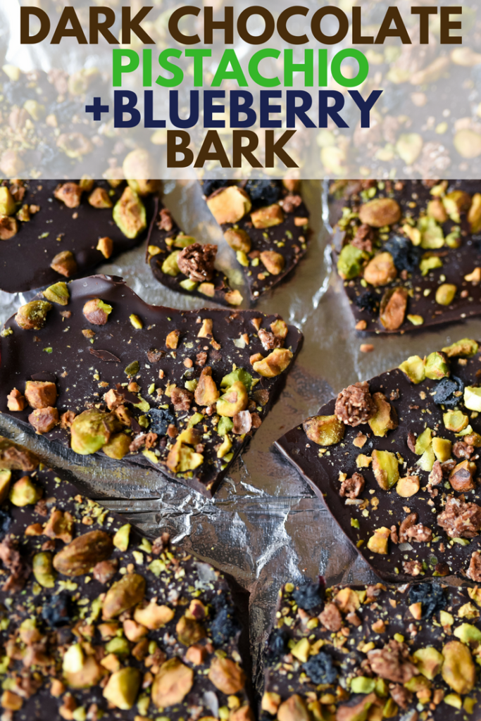 5 minute recipe for Dark Chocolate Pistachio Bark with dried blueberries, tasty pistachios, and crunchy granola. Tips for customization included! | firstandfull.com
