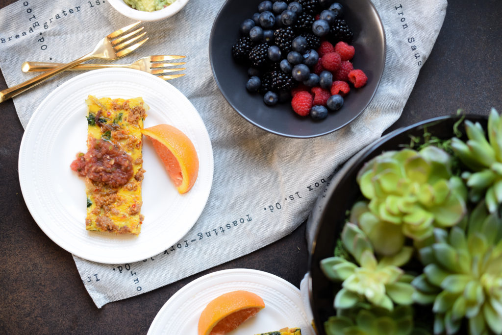 Chorizo and Caramelized Onion Frittata: Smoked chorizo, thinly sliced sweet peppers, and melt-in-your mouth caramelized onions = breakfast perfection.