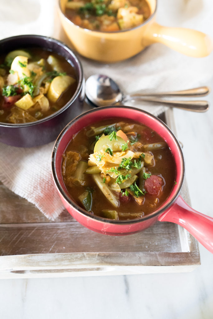 """Another great """"clean out the fridge"""" recipe: Vegetable Soup! I encourage you to treat this more as a framework than a recipe. Use what you have and prepare for soul- warming goodness; ladled into a bowl. This soup is surprisingly hearty and perfect for those crisp fall days as the temperatures start to drop."""