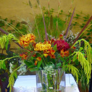 Locally foraged floral material with premium chrysanthemums