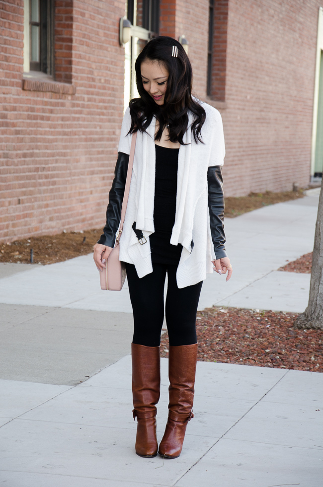 winter outfit with long shoes