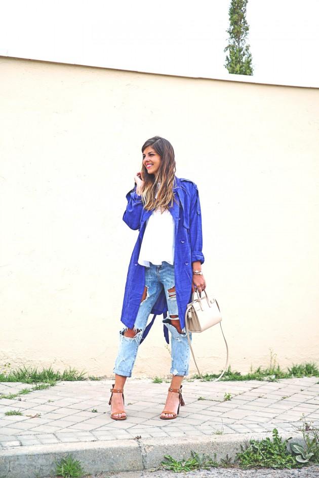 denim skirt with trench coat