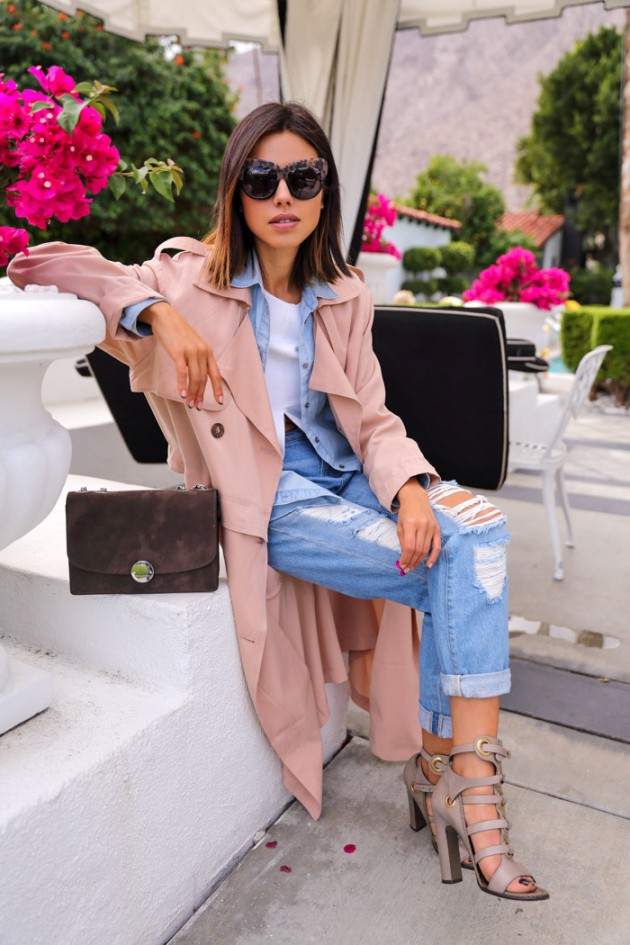 trench coat with shoes