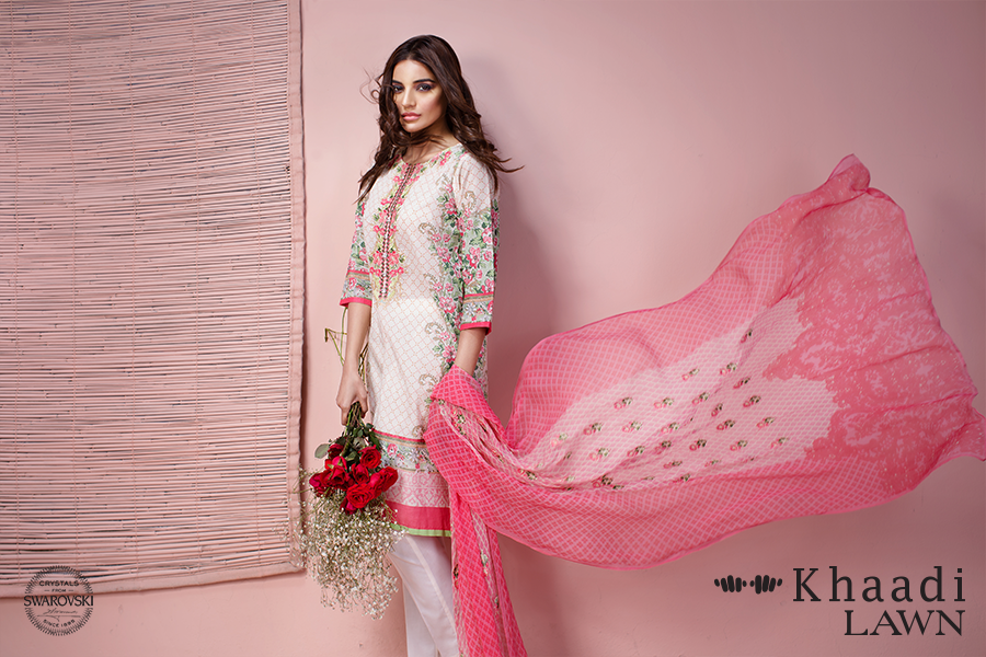 Khaadi lawn 3 piece venetian laces summer collection