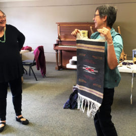 Trudy's shows her Chimayo weaving
