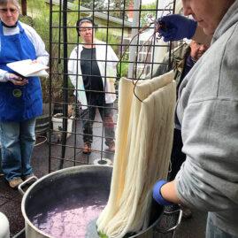 Brooke dyeing with indigo