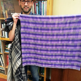 Gene Hughes's first projects: tablecloth and pillows