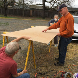 Bill, Wayne and Judy working on the shed