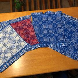 Karen May's overshot pattern doubleweave mug rugs