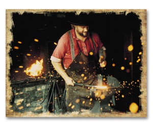 Blacksmith Hammering Hot Wrought Iron