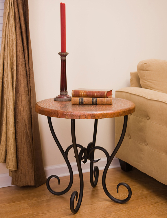 Timeless Wrought Iron - Milan End Table, Round Corner Tables
