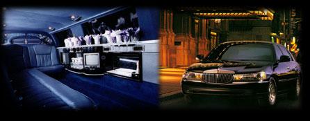 interior of luxury stretch limousine