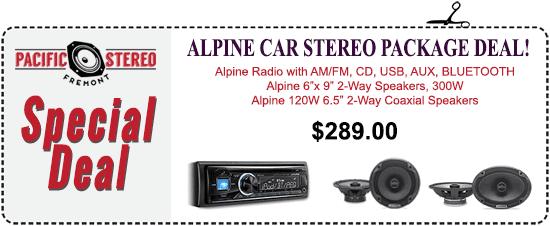 Alpine Car Stereo Package Deal - Alpine Radio with AM/FM, CD, USB, AUX, Bluetooth, Alpine 2-way 300W speakers plus Alpine 120W 2-way coaxial speakers - $289