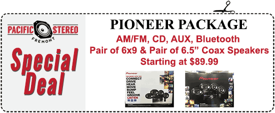 "AM/FM, CD, AUX, Bluetooth plus a pair of 6x9 speakers and a pair of 6.5"" Coax speakers, starting at $89.99"