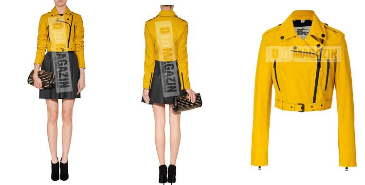 İntikam Yağmur - Beren Saat - Sarı Deri Ceketi Burberry Marka