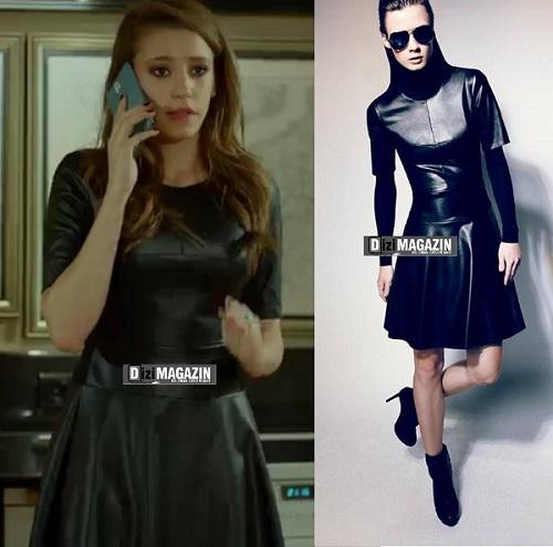 Medcezir Mira Kıyafetleri - Deri Elbise BCBG Max Azria