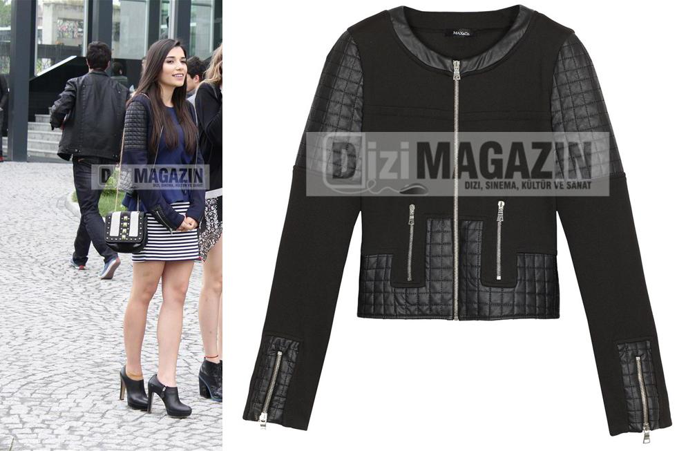 Eda'nın Giydiği Siyah Deri Ceketi Max&Co