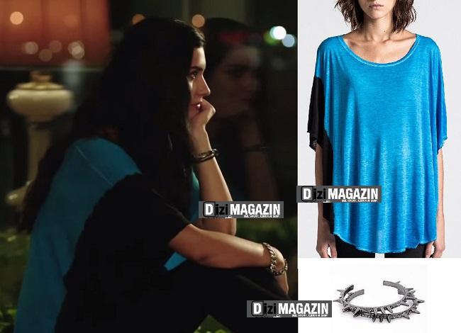Kara Para Aşk Kıyafetleri - Elif Mavi Kazak - Bileklik - Bölüm 18