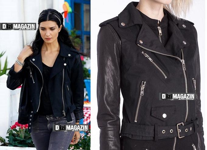 Kara Para Aşk Kıyafetleri - Elif Deri Ceket - Diesel