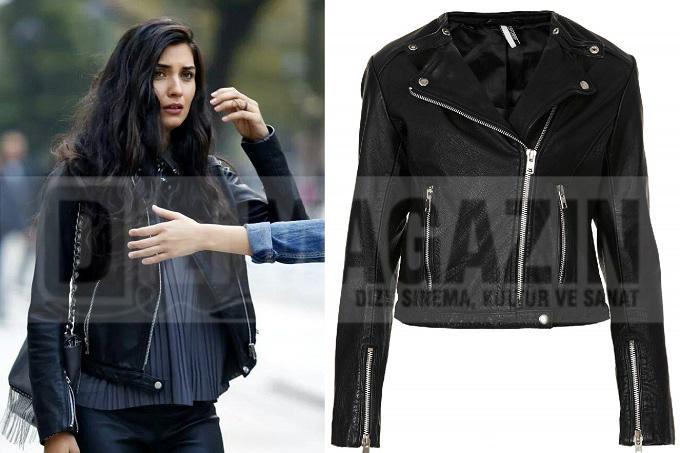 Kara Para Aşk Kıyafetleri - Tuba Büyüküstün - Elif - Deri Ceket - Topshop
