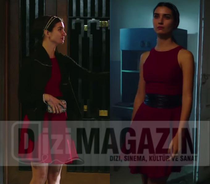 Kara Para Aşk Kıyafetleri - Tuba Büyüküstün - Elif - Kırmızı Elbise