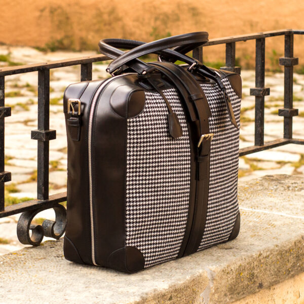 Travel Tote: houndstooth sartorial Purse for Women
