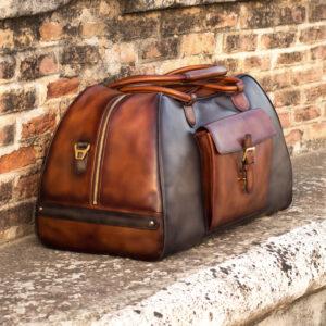 Brown fabric Travel Duffle