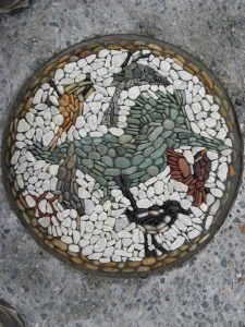 Bird pebble mosaic