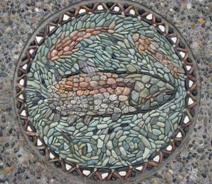 Fish pebble mosaic