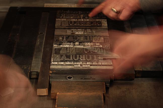 preparing type to print
