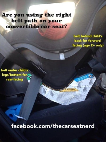 Two separate belt paths on a convertible car seat (photo credit: http://facebook.com/TheCarSeatNerd)