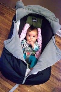"""Shower cap"" style car seat cover (photo credit: Sara Adina Baker)"