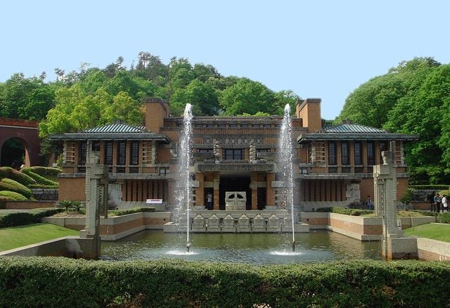 The earthquake-proof Imperial Hotel, Tokyo, designed by Frank Lloyd Wright. The foundation of the building was John Lloyd Wright's inspiration for creating Lincoln Logs. (photo credit: Incredible Art Department)