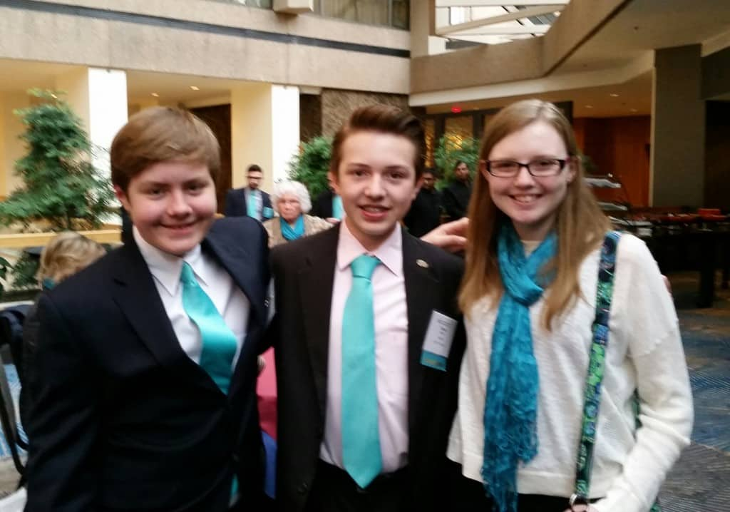 Tommy at the Youth Ambassador training conference in DC with fellow Tourette Youth Ambassadors: Reese Wilson, Texas on the left and Emily Shelby, Wisconsin on the right
