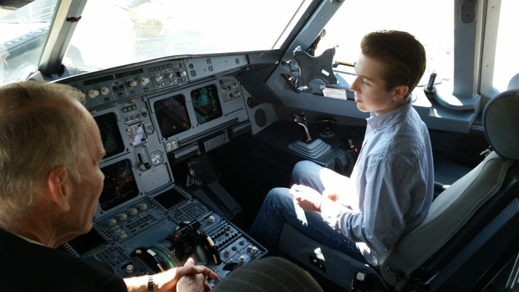 """Kerri says, """"Tommy got to sit in the cockpit with the pilot after our flight to DC. He impressed them (& me) with all of his knowledge of everything in there."""""""