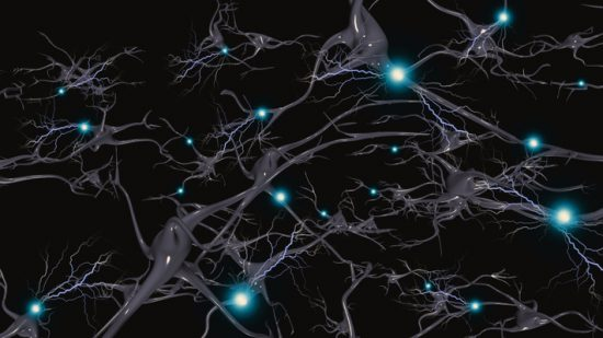 Brain cells with electrical firing. 3D rendering - Illustration